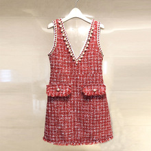 Ky&Q Women Sexy Deep V Neck Pearl Beading Red Knitted Dresses 2018 Spring Casual Vest Dress Sweaters Plaid Lady Party Vestidos