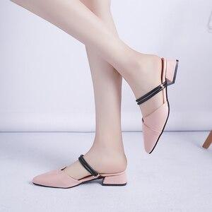 Image 5 - Party Chicผู้หญิงMulesรองเท้าแตะPointed Toe Blockสายคล้องปิดตื้นรองเท้าส้นสูงรองเท้าแตะสีดำBeigeส้นปั๊มส้น