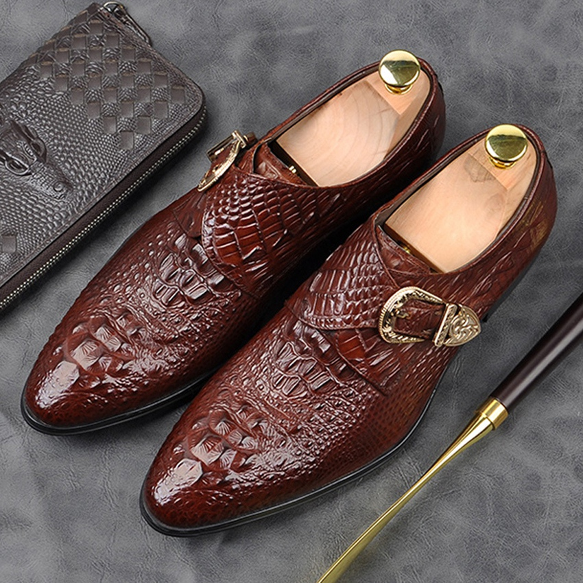 Fashion Genuine Leather Formal Dress Mens Monk Strap Shoes Alligator Pattern Pointed Toe Belt Casual Wedding Office Flats AM131Fashion Genuine Leather Formal Dress Mens Monk Strap Shoes Alligator Pattern Pointed Toe Belt Casual Wedding Office Flats AM131