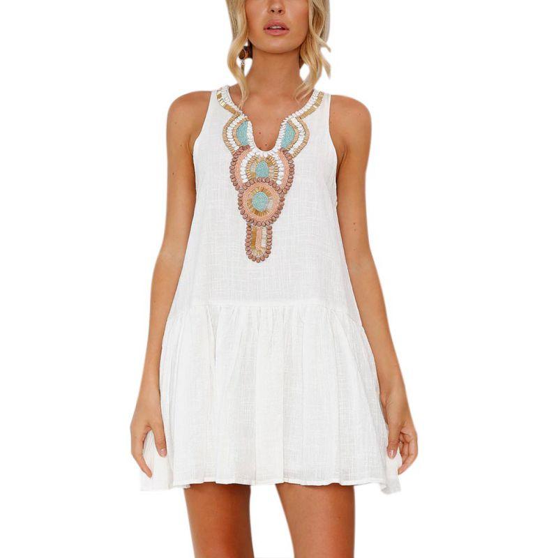 Casual Boho Dresses Summer Dress 2018 Back Buttons Vestidos Vintage Print Women Dress V-neck Sleeveless Sexy Beach Dress