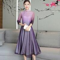 Plus size large big women dress clothes China elegant retro party Gradient purple pink dresses robe winter autumn 2018 dress
