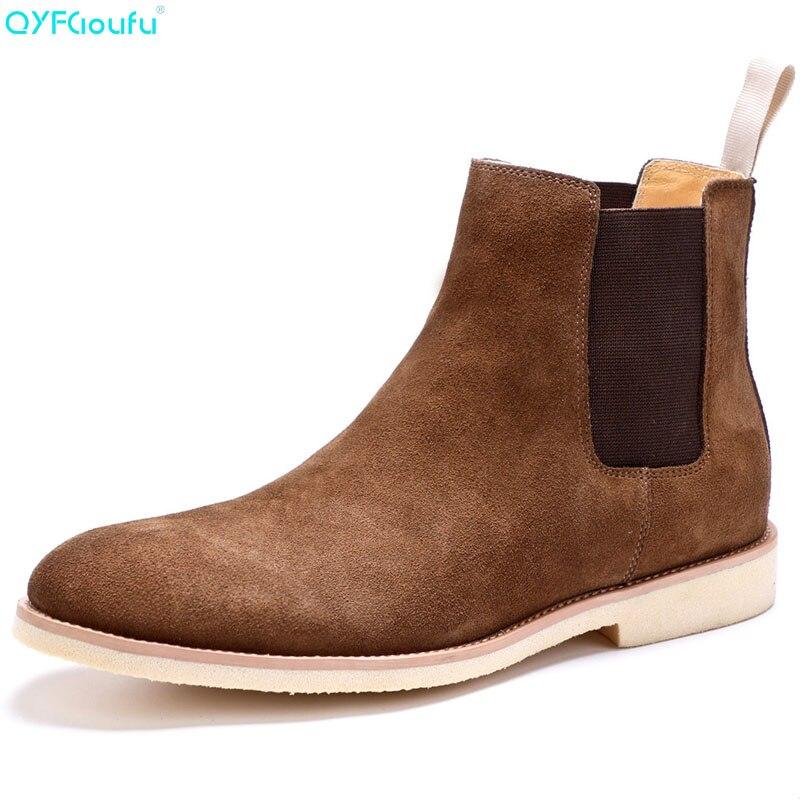 QYFCIOUFU 2019 NIEUWE Mannen Chelsea Laarzen Mode Suède Enkellaarsjes Mode mannen Merk Echt Lederen Slip Ons Man Werk laarzen Schoenen