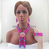 New nigerian Wedding Beads jewelry Set Costume african Beads jewelry sets Pink and Lake Blue Crystal necklace Set W13139
