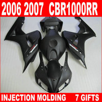 Miễn phí customize cho 06 07 HONDA CBR1000RR bộ phận tạo tất cả các căn hộ đen 2006 2007 cbr 1000 rr fairing YBJ86 + tank bìa