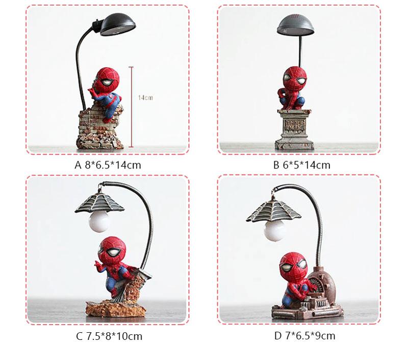 Cartoon Avengers Action Figures Spider Man Night Lamp Resin Children Bedroom LED Night Light for Boy Kids Xmas Creative Gift (3)