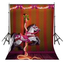 5x7ft Carousel Backdrop Happy Carousel Childrens Party Photography Background and Studio Photography Backdrop Props