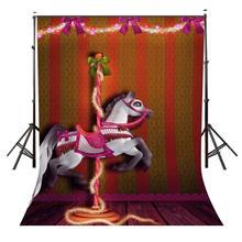 5x7ft carrousel toile de fond joyeux carrousel fête des enfants photographie fond et Studio photographie toile de fond accessoires