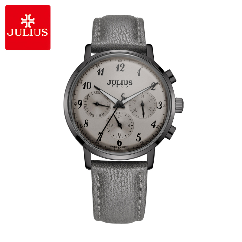 Thin Real Functions Julius Women's Watch ISA Quartz Hours Fashion Woman Clock Bracelet Sport Leather Birthday Girl's Gift Box real multi functions women s watch isa quartz hours fine fashion dress bracelet sport leather birthday girl s gift julius box