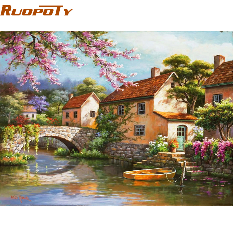 RUOPOTY Countryside Landscape Diy Digital Painting By