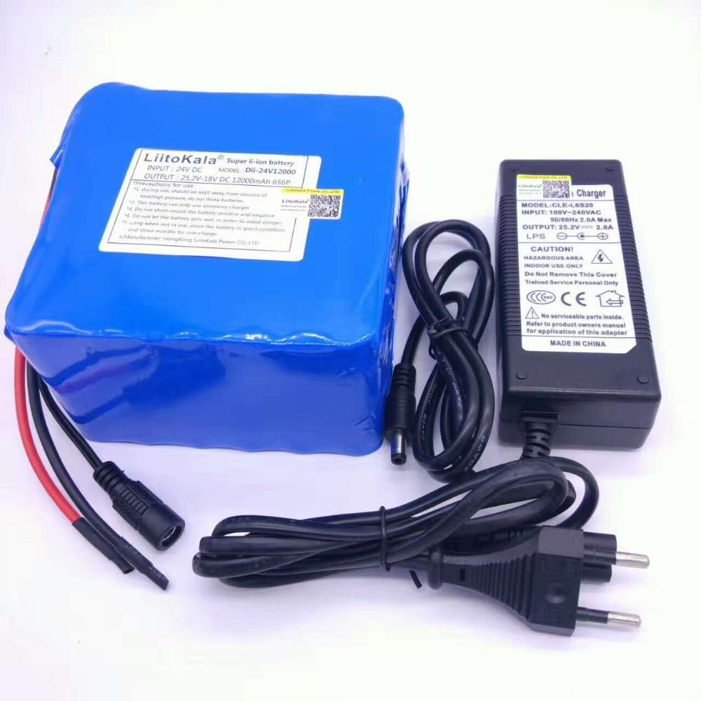Liitokala 6s6p 24 v 25.2 v 12Ah batterie 18650 au lithium-ion batterie portable alimentation de secours pcb + 24 v (25.2 v) 2a chargeur de batterie.