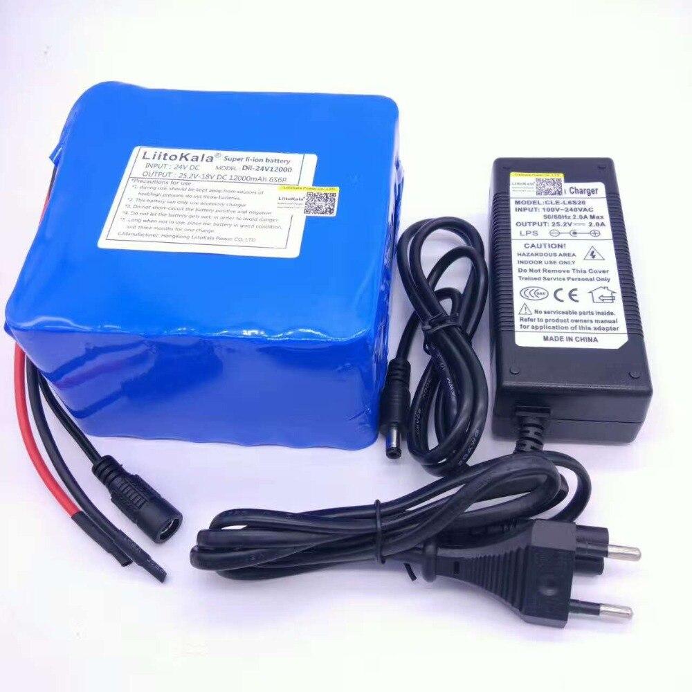 Liitokala 6s6p 24 v 25.2 v 12Ah da bateria 18650 bateria de lítio-ion bateria de backup de energia portátil pcb + 24 v (25.2 v) 2a carregador de bateria.