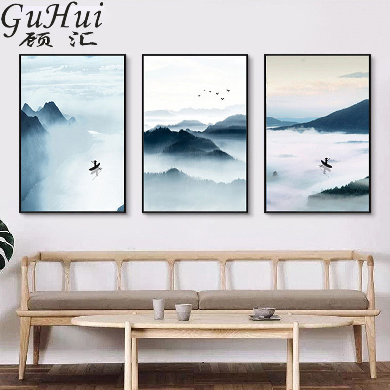 Chinese Style Ink Landscape Painting Black Abstract Mountains The River Fisherman Canvas Painting Tea Room Living Room Decora ...