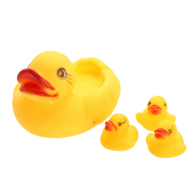 4 Pcs lot New Baby toys Baby Rubber Bathing Toys Developmental Water Floating Squeaky Ducks Brand