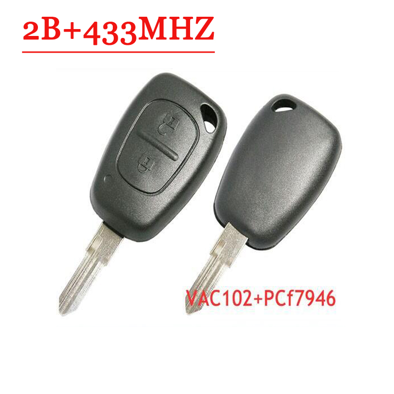 Free Shipping 2 Button Remote Control Key PCF7946 CHIP With VAC102 Blade For Renault 5pc/lot