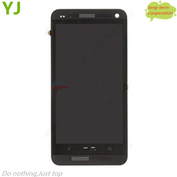 HK free shipping AAA Black Front Housing LCD Assembly with Touch Screen Digitizer for HTC One M7 801e OEM