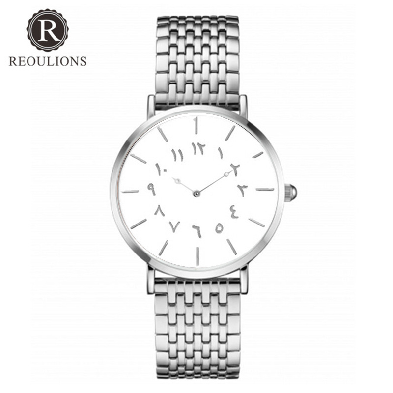 REOULIONS Top Luksus Brand New Arabic Numbers Watch Fashion Steel - Dameure - Foto 4