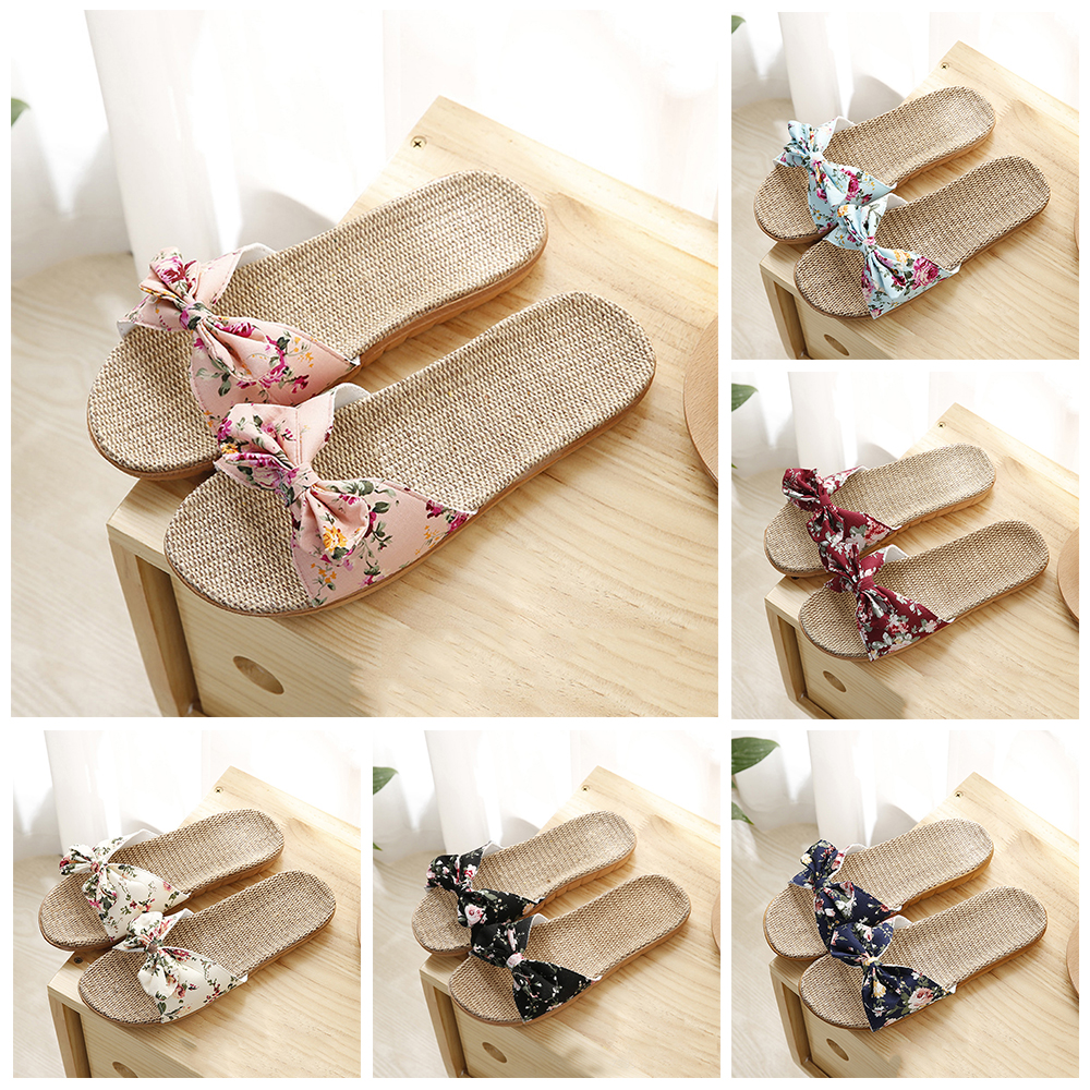 New Women Summer Beach Slippers Breathable Linen Flip Flops Female Casual Flax Slippers Sandals Floral Bow Indoor Shoes
