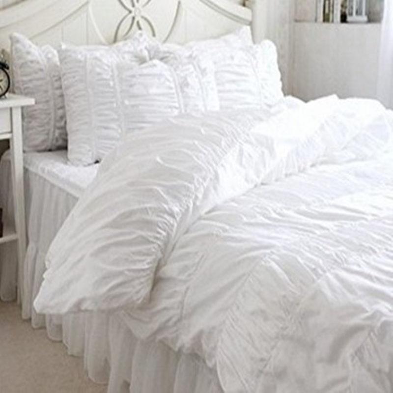 Nueva cama de lujo Europea conjunto hecho a mano arrugas funda
