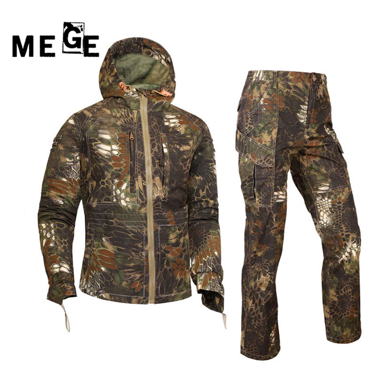 Mege Outdoor Camouflage Hunting Clothing Suit Tactical Military Uniform Airsoft Rifle Shooter Protective Overalls Tactics Suit
