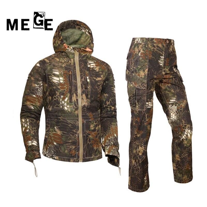 Mege 屋外迷彩狩猟服スーツタクティカルミリタリー制服エアガンライフルシューター保護オーバーオール戦術スーツ  グループ上の スポーツ & エンターテイメント からの ハイキング ジャケット の中 1