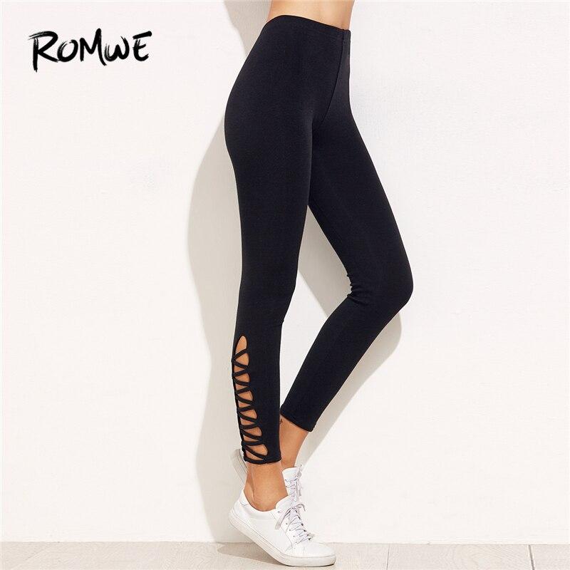 Romwe Спорт решетки низ Высокая Талия Леггинсы 2018 новое поступление черный Cut Out Crop плавки Для женщин Твердые эластичные штаны для йоги
