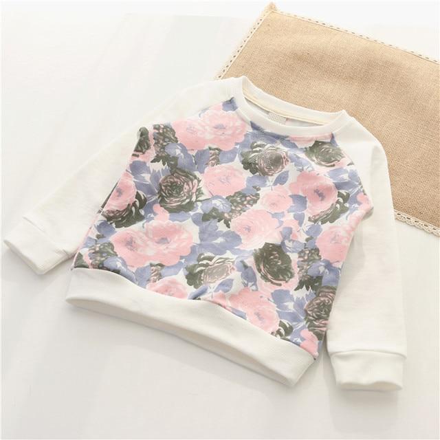New arrival Spring Korean Baby girls hoodies Toddler girls floral sweatshirt Kids clothes