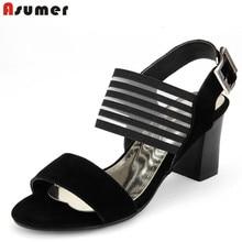 EURขนาด34-44หนังแท้ผู้หญิงรองเท้าแตะรองเท้าส้นสูงหนาผู้หญิงแต่งตัวรองเท้าผู้หญิงสีดำแฟชั่นรองเท้า