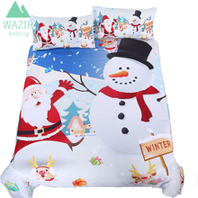 WAZIR 2018 NEW Santa Claus and the Snowman Bedding Set Duvet Cover King Queen Size Pillowcase Bed Linen Bedroom Christmas Gifts цена