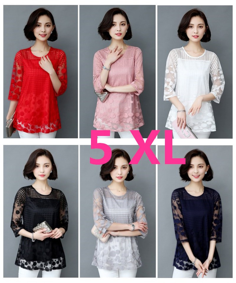 HTB1s4pSOXXXXXaWapXXq6xXFXXX5 - 5XL Women Fashion Elegant Lace Blouse Shirt Chiffon 3/4 Sleeve