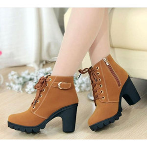 Image 2 - High Quality Lace up ladies shoes woman PU leather fashion high heels boots women 2020 new autumn winter women ankle Boots
