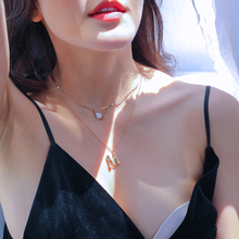 Banquet Wedding Party Natural Gold Shell Pendant Necklace for Women 3 Multi-layer Long Chain Pearl Lady