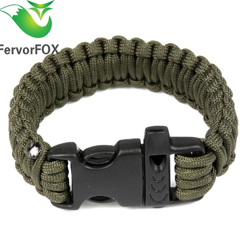 1PC Outdoor Camping Paracord Parachute Cord Emergency Survival Bracelet Rope With Whistle Buckle(Army Green)