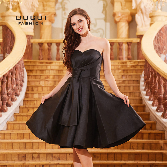 Black Plus Size 2018 Bridesmaid Dresses Short Gowns Tea Length A Line Satin Dress For Wedding