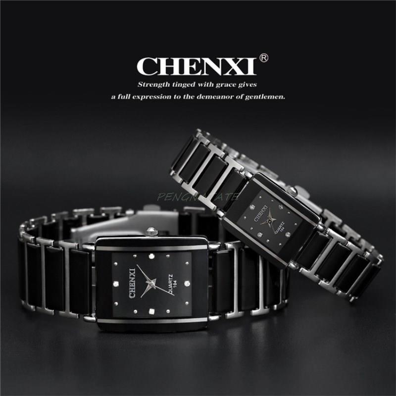 Chenxi nueva moda mujer reloj hombres Top marca de lujo hombre reloj mujer cuarzo reloj de cerámica impermeable reloj pengnatate