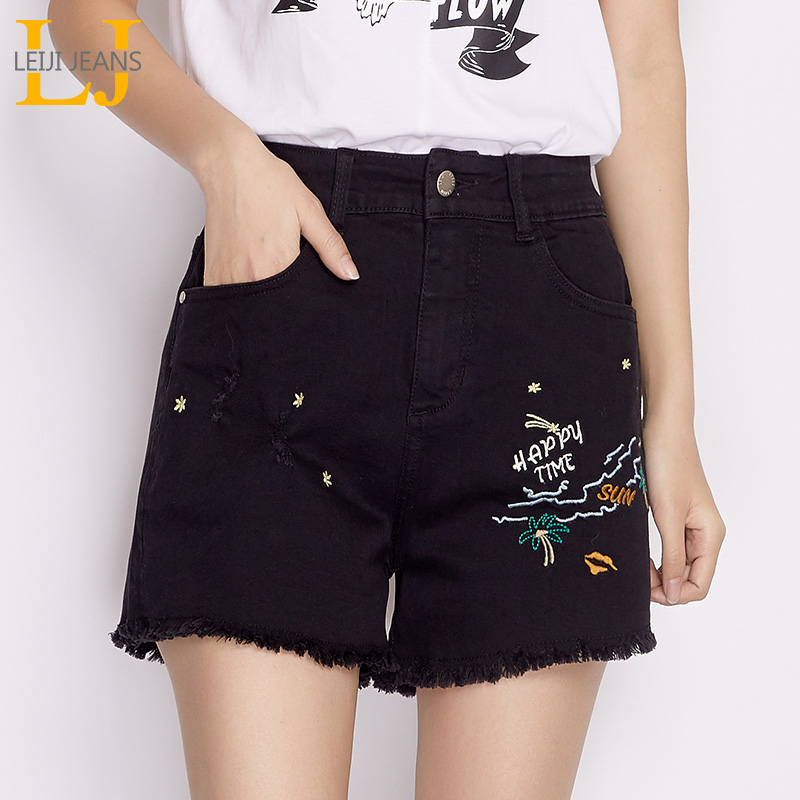 LEIJIJEANS New Arrival Summer Plus Size Pattern Embroidery Ripped Tassel Mid Waist Loose Straight Denim Women   Shorts   6480