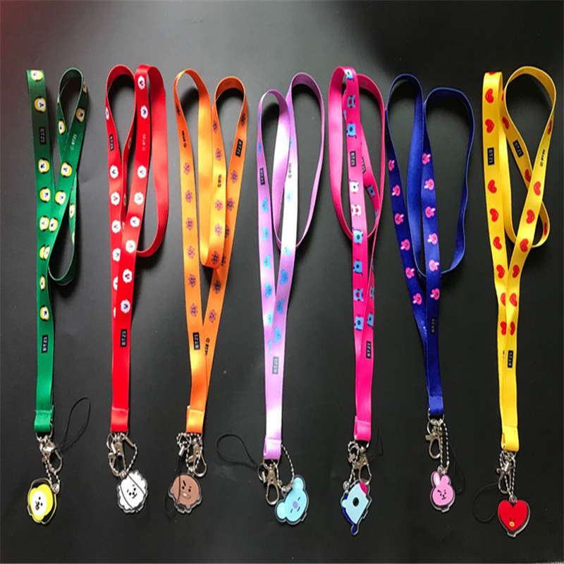 TJHSZKL Cartoon Pattern Lanyard Key ID Card Gym Mobile Phone For Iphone With USB Badge Clip DIY Ring-type Hanging Neck Rope
