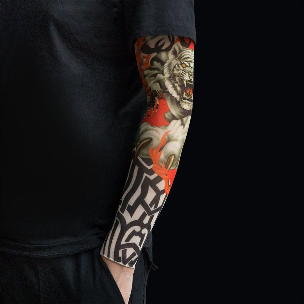 6PCS Nylon Elastic Tattoo Sleeve For Men Women Arm Warmer Unisex UV Sun Protection Cool Cycling Sleeves Body Arm Stockings C0509