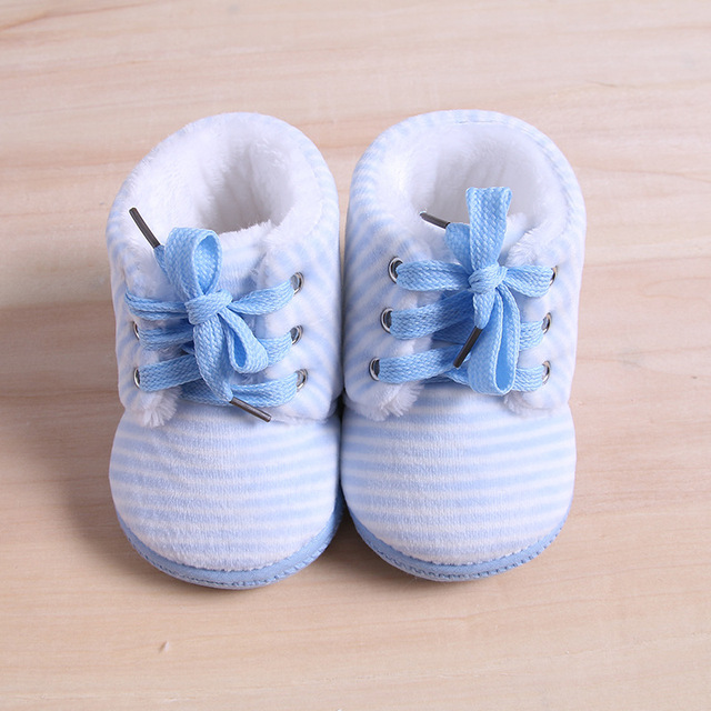 Baby Shoes Girl Boy First Walker Shoes for Kids Add Wool Soft-soled Children Shoes All Seasons Blue Pink Size 13-15 for Newborn