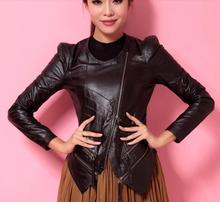 Women's 2016 spring fashion hot sell fashion slim jacket short design natural Sheepskin genuine leather motorcycle coat S-2XL