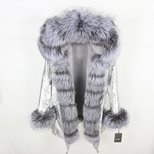 OFTBUY 2020 New Winter Jacket Women Real Fur Coat Natural Real Fox Fur Collar Long Parka Big Fur Outerwear Detachable Streetwear