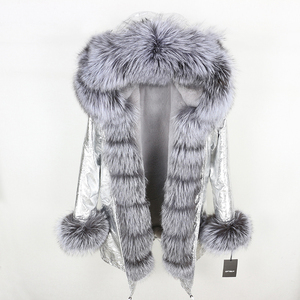 Image 1 - Oftbuy 2020 新冬のジャケットの女性本物の毛皮のコートナチュラル本物フォックス毛皮の襟ロングパーカービッグ毛皮の上着着脱式ストリート