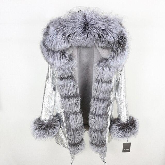 Oftbuy 2020 新冬のジャケットの女性本物の毛皮のコートナチュラル本物フォックス毛皮の襟ロングパーカービッグ毛皮の上着着脱式ストリート