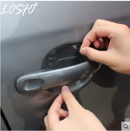LOSFO 4Pcs Car Stickers Door Handle Protection Film Invisible Car Handle Scratches Automobile Shakes Car Protector Films cy004 door handle guard protector skin film for auto car white 4 pcs