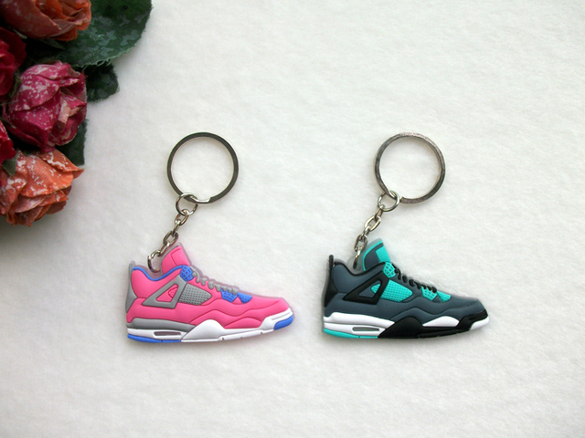 a1fc41c257b0 Mini Silicone Shoes Jordan 4 Keychain Key Chain Sneaker Car Key Holder  Woman Men Bag Charm