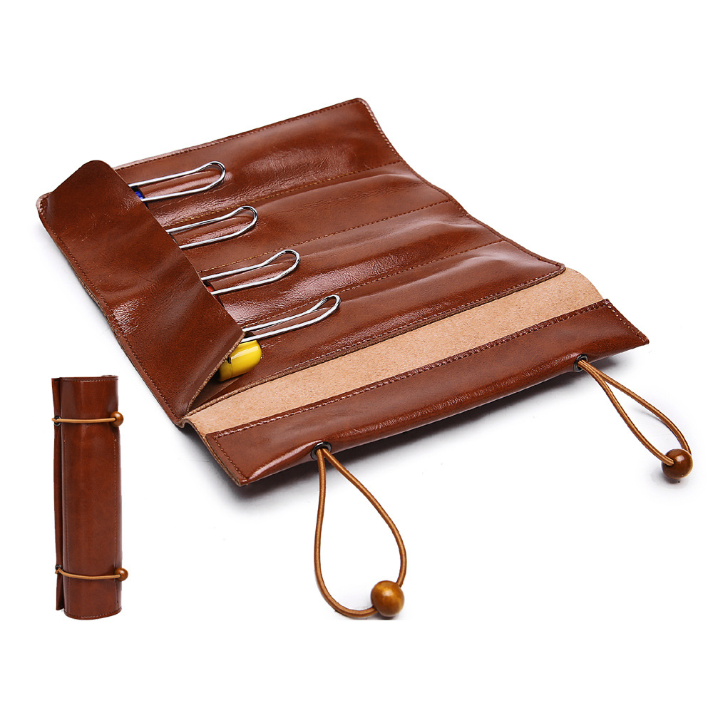 1pcs High-end 4 Slots Pen Pencil Case Bag Durable Micro Fiber Leather Roll Up Pouch Protective Bag Retro Style for Gift gp 01 retro envelope style protective pu leather inner bag pouch case for ipad mini brown