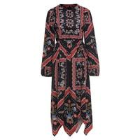 Bohoartist Apparel Dress Black Floral Print Asymmetrical O Neck Long Sleeve Women Spring Bohemian Elegant Mid