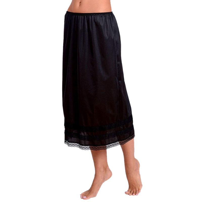 Women Petticoat Underskirt Skirts Polyester Underdress Solid Skirt Hem Vestidos Summer Casual Slips Lady Lace Mini Sexy
