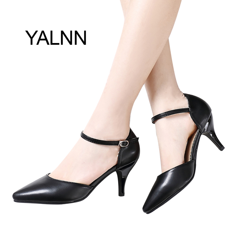 YALNN Women Spring Pumps Buckle Strap High Thin Heels for Women Pointed Toe Career Shoes цена