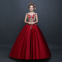 2018 Summer Red Sleeveless O Neck flower embroidery perspective Backless Evening Party Long Dress 18th Century Masquerade Dresse