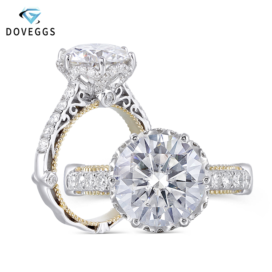 DovEggs 14k White and Yellow Gold 4ct Center 10mm F Color Heart Arrows Cut Moissanite Engagement